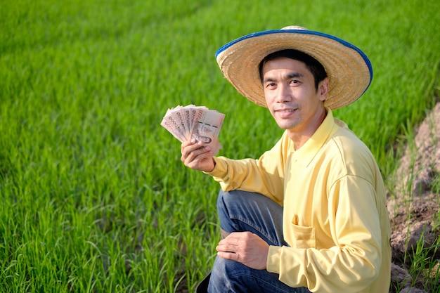 Agricultor asiático usa camisa amarela sentado e segurando o dinheiro das notas tailandesas na fazenda verde