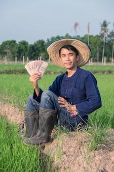Agricultor asiático usa traje tradicional sentado e segurando dinheiro em uma fazenda de arroz verde