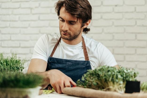 Agricultor atraente barbudo cuidando de brotos de microgreens