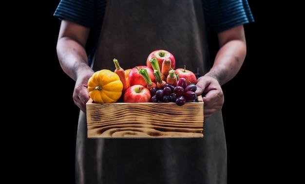 Agricultor com frutas frescas nas mãos. colheita de outono cornucópia no outono com caminho