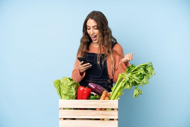 Agricultor com legumes frescos colhidos em uma caixa surpreso e enviando uma mensagem