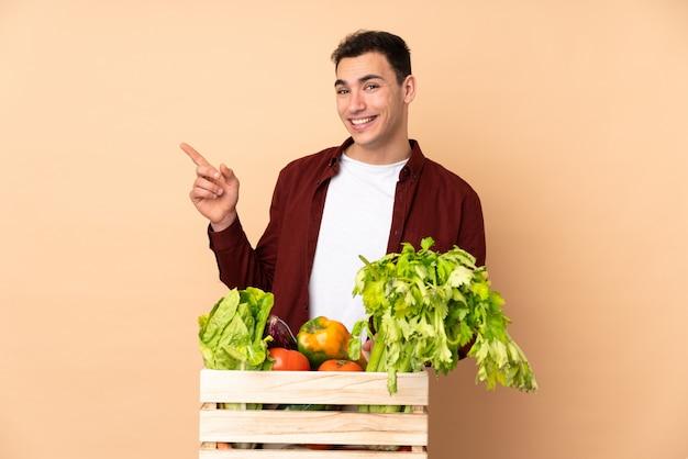 Agricultor com legumes recém colhidos em uma caixa isolada na parede bege, apontando o dedo para o lado