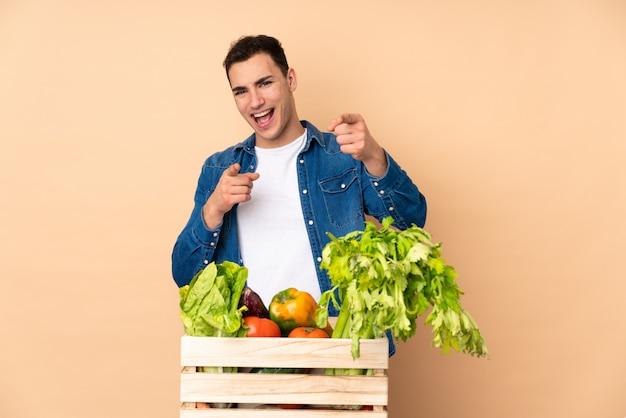 Agricultor com legumes recém colhidos em uma caixa isolada na parede bege, apontando para a frente e sorrindo