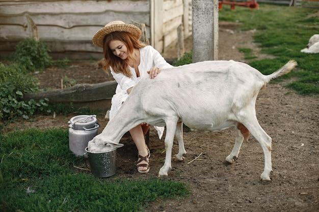 Agricultor de menina com cabra branca. mulher e grama verde pequena cabra. fazenda ecológica. fazenda e conceito de agricultura. animais da aldeia.