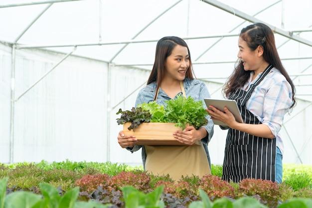 Agricultor feliz segurando uma cesta de legumes e mulher segurando a tablet e sorrindo