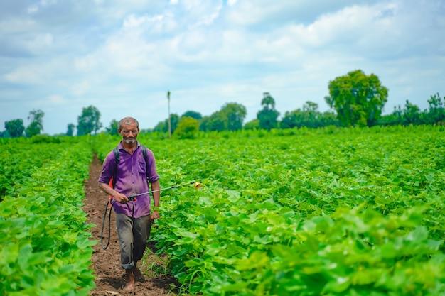 Agricultor indiano pulverizando pesticida em campo de algodão