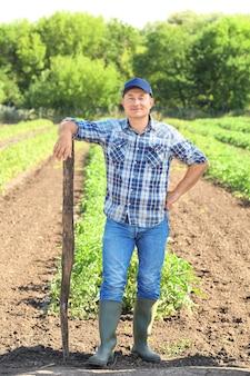 Agricultor maduro com enxada em pé no campo no campo