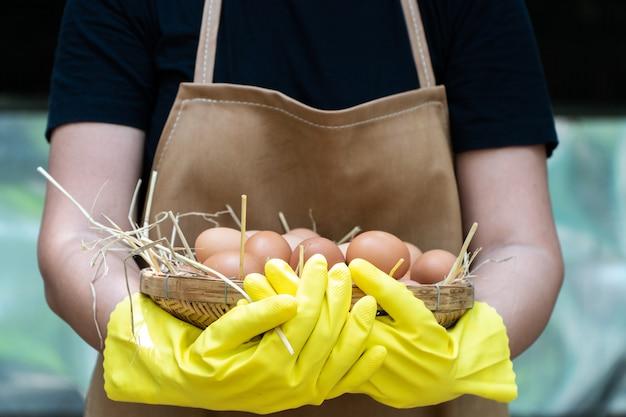 Agricultor mulheres usam luvas de borracha amarela e avental marrom estão segurando ovos de galinha fresca
