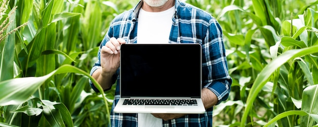 Agricultor no campo mostrando a tela do laptop