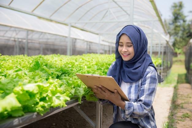 Agricultor que verifica a qualidade da planta