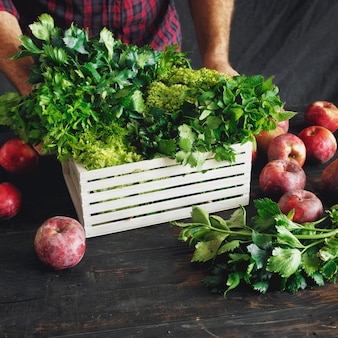 Agricultor recém colhidas ervas conceito de colheita de caixa de madeira