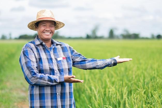 Agricultora tailandesa asiática usa um sorriso de camisa azul e levanta as mãos para uma apresentação na fazenda verde