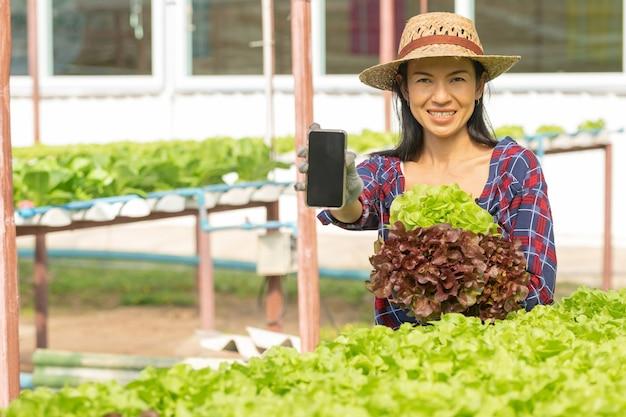Agricultores de mulher asiática trabalhando usando celular na fazenda hidropônica de vegetais com felicidade. retrato de mulher agricultora, verificando a qualidade da salada vegetal com sorriso na fazenda da casa verde.