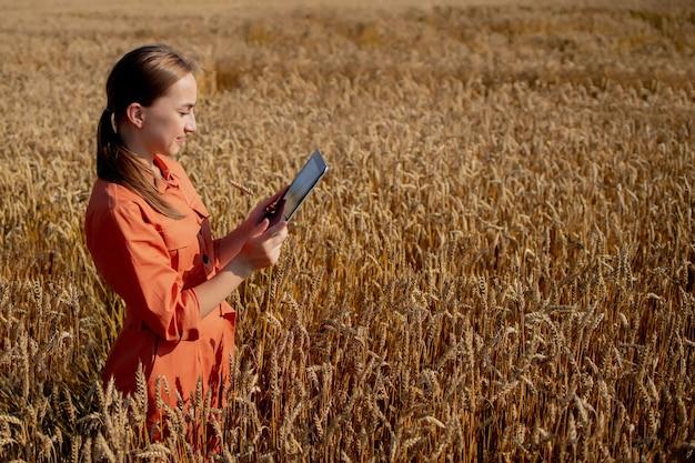 Agrônomo caucasiano verificando a área de cereais