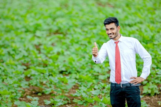 Agrônomo com agricultor no campo de algodão