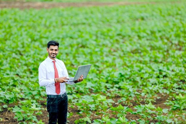 Agrônomo indiano com agricultor no campo de algodão