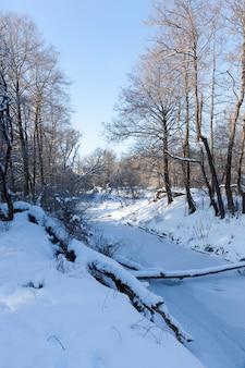 Água congelada no rio durante as geadas, inverno com geadas