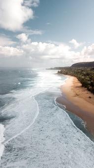 Água do mar por uma praia arenosa cercada por árvores sob um céu azul claro com nuvens brancas