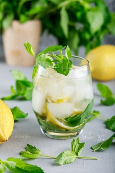 Água gelada de desintoxicação em um copo com limões e hortelã close-up na superfície cinza e grunge