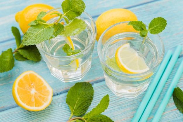 Água refrescante com limão e hortelã