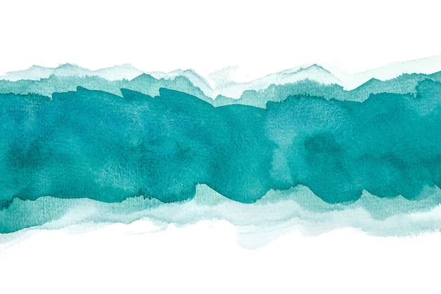Aguarela azul abstrata isolada em fundos brancos