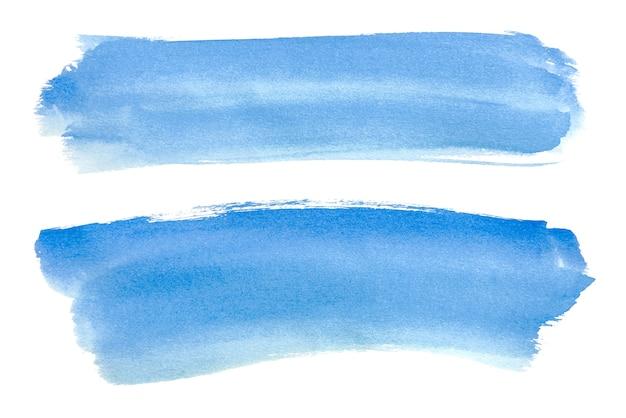 Aguarela azul abstrata isolada nos fundos brancos, pintura da mão no papel.