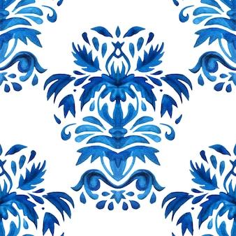 Aguarela azul damasco desenhado à mão design floral. sem costura padrão mediterrâneo, ornamento de ladrilhos. fundo da flor abstrata persa.