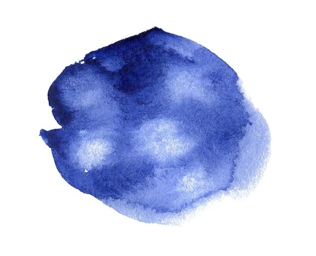 Aguarela azul desenhada à mão mancha na textura de grão de papel branco cor de água abstrato pincel artístico pintura fundo respingo