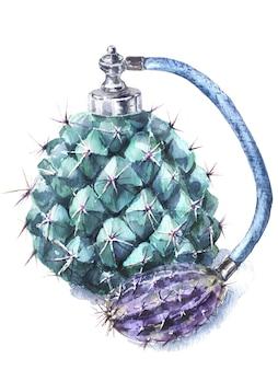 Aguarela de garrafa de perfume vintage cacto