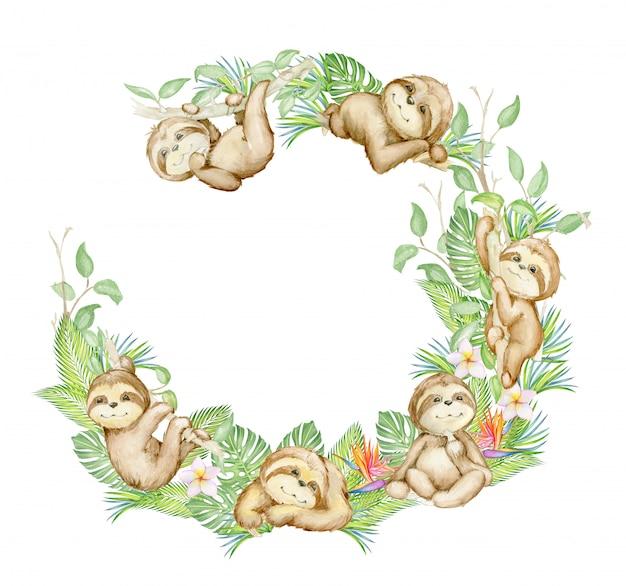 Aguarela de preguiças, molduras de preguiças e plantas e flores tropicais