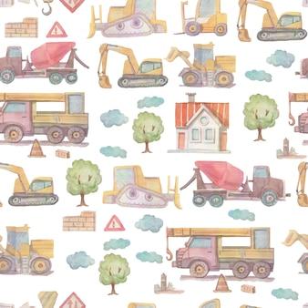 Aguarela desenhada à mão para construção de veículos de construção