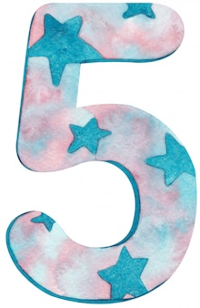 Aguarela número cinco com cores e estrelas cor-de-rosa e azuis.