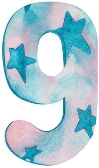 Aguarela número nove com cores e estrelas cor de rosa e azuis.