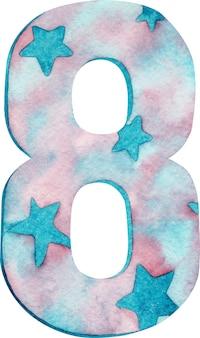 Aguarela número oito com cores e estrelas cor-de-rosa e azuis.