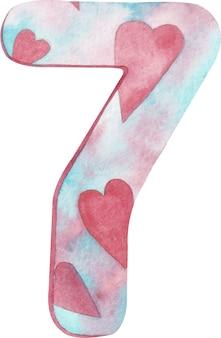 Aguarela número sete com cores e corações cor-de-rosa e azuis.
