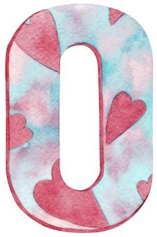 Aguarela número zero com cores e corações cor-de-rosa e azuis.