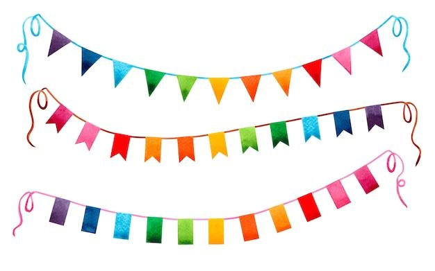 Aguarela pintando guirlanda de bandeiras coloridas