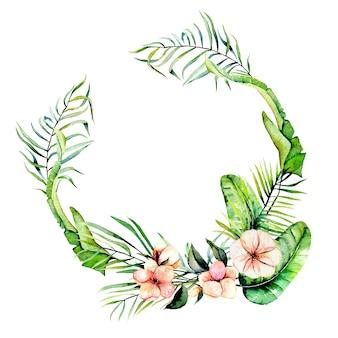 Aguarela rosa flores exóticas e folhas de palmeiras tropicais quadro de borda, grinalda, pintado à mão em um fundo branco