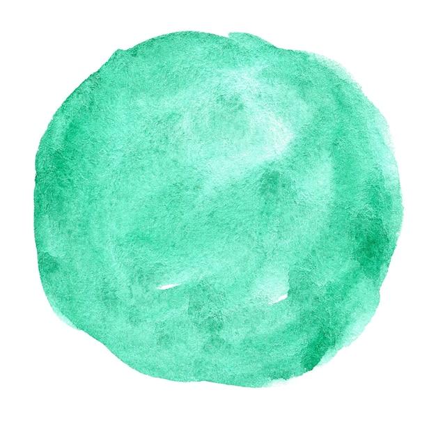 Aguarela turquesa mão desenhada mancha na textura de grão de papel branco abstrato cor de água pincel artístico pintura respingo fundo