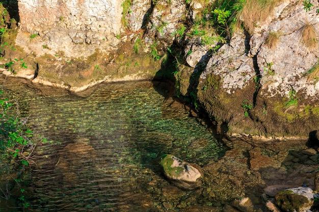 Águas cristalinas do rio da montanha provenientes do degelo.