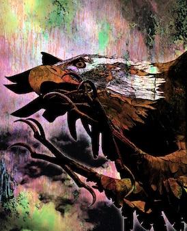 Águia pássaro careca animais arte grunge escultura