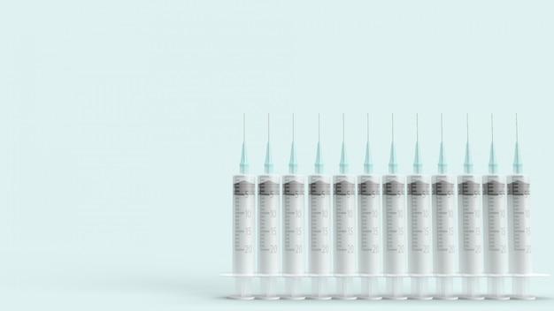 Agulha de injeção em azul pastel renderização em 3d para conteúdo médico.