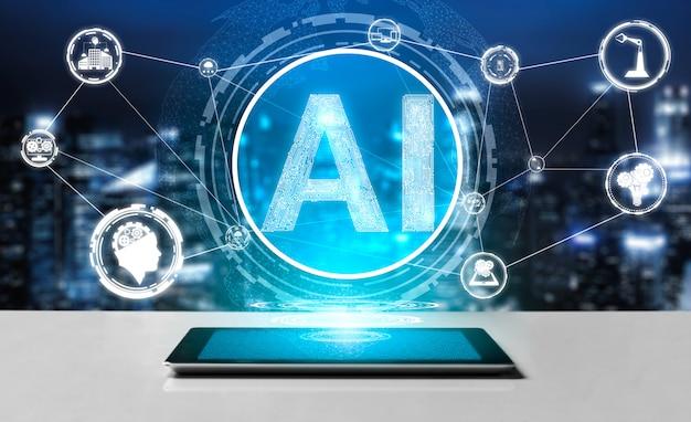 Ai aprendizagem e conceito de inteligência artificial.