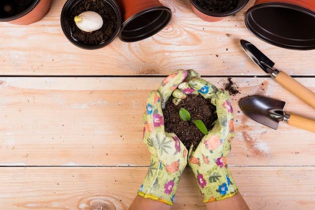 Ainda vida com objetos de jardinagem