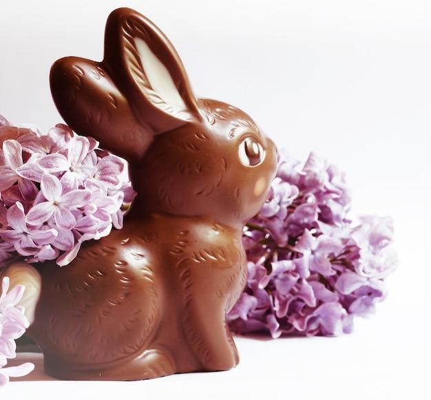 Ainda vida festiva com coelhinho da páscoa do chocolate e flores lilás.