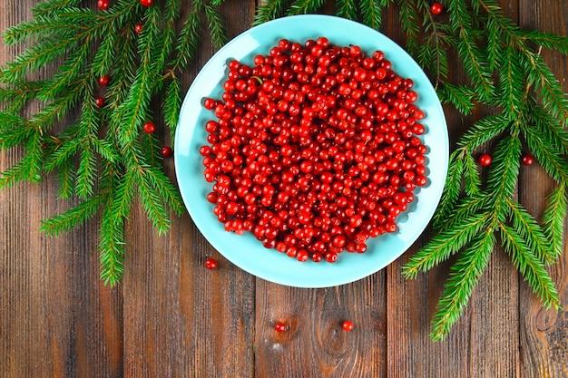 Airela, foxberry, cranberry, lingonberry em um prato de cerã ¢ mica azul em uma mesa de madeira marrom.