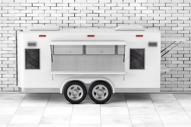 Airstream caravan food truck em frente à parede de tijolos. renderização 3d