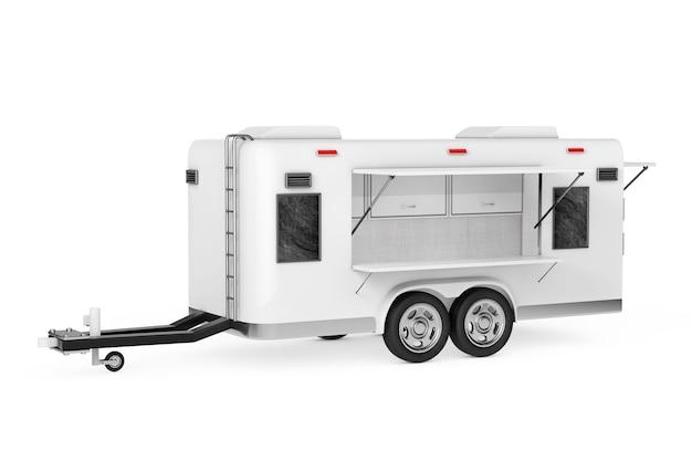 Airstream caravan food truck em um fundo branco. renderização 3d
