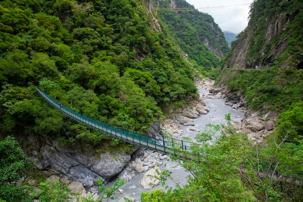 Ajardine a vista na ponte de corda verde de taroko, parque nacional de taroko.