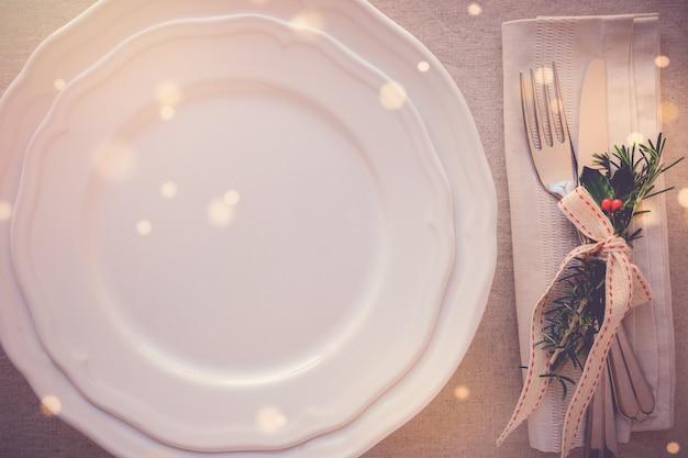 Ajuste de lugar de mesa de natal, férias cópia espaço plano de fundo